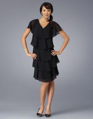 Patra Petite Short Tiered Chiffon Dress