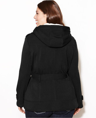 Dollhouse Plus Size Hooded Fleece Double-Breasted Jacket