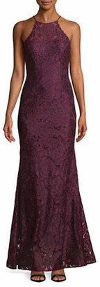Betsy & Adam Embellished Lace Gown