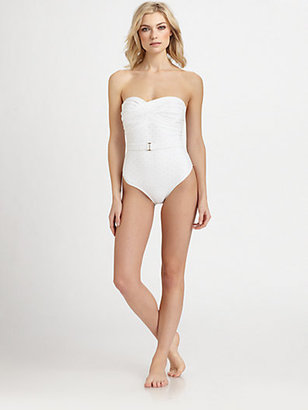 Shoshanna One-Piece Eyelet Bandeau Swimsuit