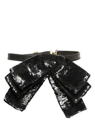Saint Laurent Mini Sequined Silk Bow Collar