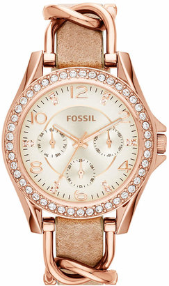 Fossil Women Riley Rose Gold-Tone Chain and Bone Leather Strap Watch 38mm ES3466