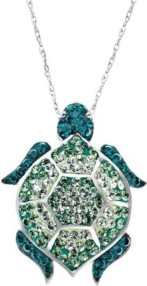 Swarovski Artistique Sterling Silver Crystal Turtle Pendant - Made with Crystals