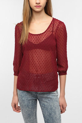 Urban Outfitters Pins And Needles Clip Dot Tulip Back Blouse