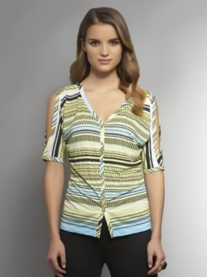 New York & Co. Cold Shoulder Button-Front Print Shirt