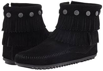 Minnetonka Double Fringe Side Zip Boot (Grey Suede) Women's Zip Boots