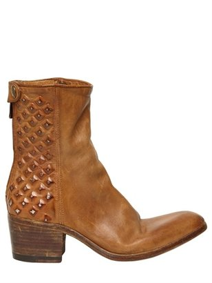 Alberto Fasciani 50mm Leather Washed Studded Boots