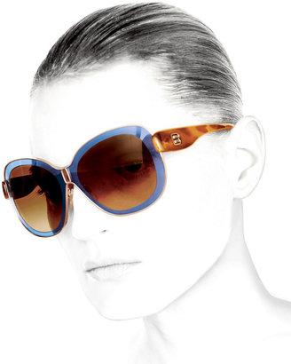 Balenciaga Transparent Framed Sunglasses, Blue/Brown
