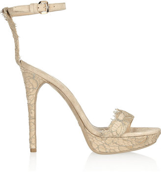 Burberry Shoes & Accessories Lace-covered suede sandals