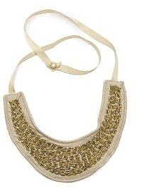 Beth Lauren Metallic Canvas Ribbon Bugle Bead Necklace