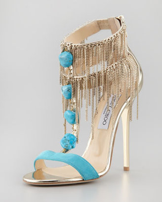 Jimmy Choo Belle Chain-Fringe T-Strap Sandal