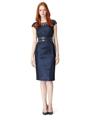 Oscar de la Renta 3/4 Sleeve Jewel Neck Dress With Ruched Front
