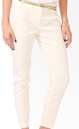 Forever 21 Essential Cuffed Ankle Pants w/ Belt