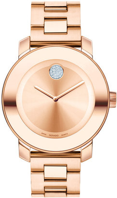 Movado Women's Swiss Bold Rose Gold Ion-Plated Stainless Steel Bracelet Watch 38mm 3600086