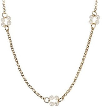 Sequin Stationed Pearl Cluster Long Necklace - Gold