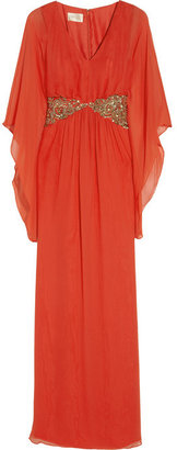 Notte by Marchesa Embellished silk-chiffon gown
