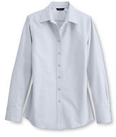 Lands' End Women's Regular Long Sleeve Oxford Shirt-Dark Cobalt Blue Tattersal $25 thestylecure.com