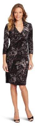 Jones New York Women's Matte Jersey 3/4 Sleeve Shirt Dress