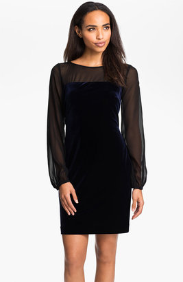 Donna Morgan Sheer Blouson Sleeve Velour Dress