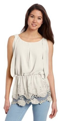 XOXO Juniors Box Pleat Front Embroidered Hem Top