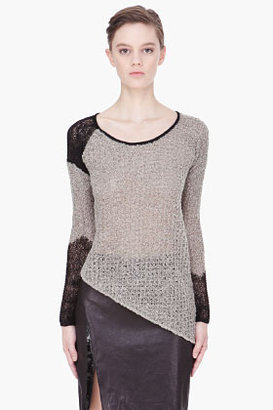 Helmut Lang grey Flecked asymmetric Combo sweater