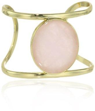 "Isharya Gold-Plated Rose Quartz Cuff Bracelet, 6.3"""
