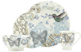 Lenox CLOSEOUT! Dinnerware, Collage by Alice Drew Hummingbird 4-Piece Place Setting