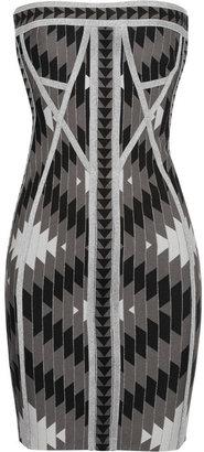 Herve Leger Strapless metallic bandage dress