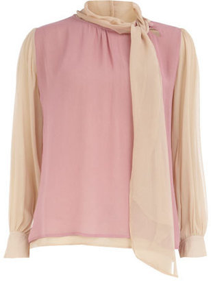 Dorothy Perkins Pink contrast pussy bow blouse