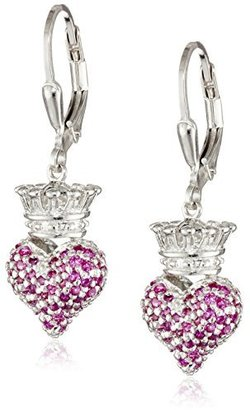 "King Baby ""Crowned Heart"" Small 3D Crowned Heart with Pave Pink Cubic Zirconia Leverback Earrings $178.70 thestylecure.com"