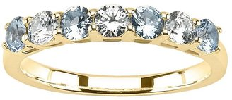 14k Gold Aquamarine & 1/3-Ct. T.w. Round-Cut Diamond Ring