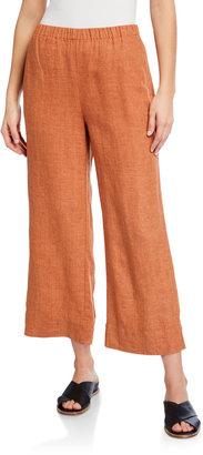 Eileen Fisher Wide-Leg Organic Linen Ankle Pants