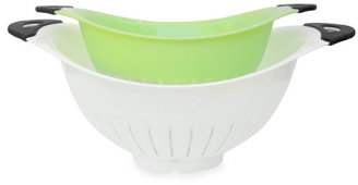 Bed Bath & Beyond White and Green Colanders (Set of 2)