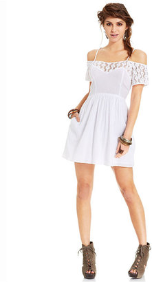 American Rag Lace-Panel Off-the-Shoulder Dress