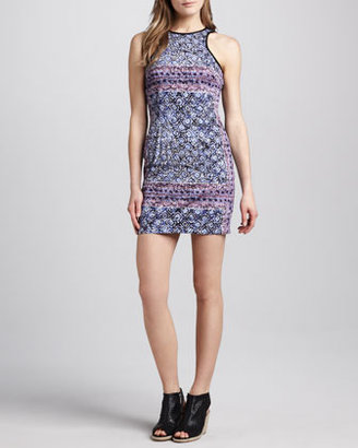 Charles Henry Printed Fitted Tank Dress