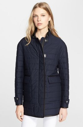 Burberry 'Brooksteen' Leather Trim Quilted Cotton Jacket