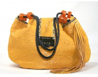 Jimmy Choo excellent (EX Yellow Leather Python Trimmed Hobo Bag