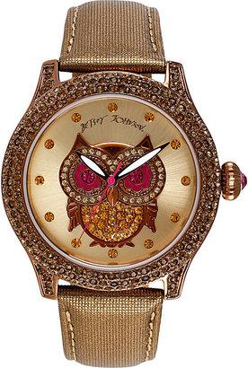 Betsey Johnson Owl Face Metallic Band Watch