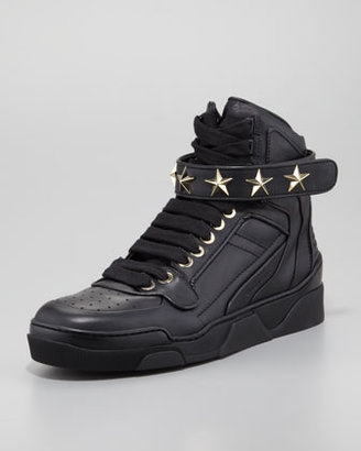 Givenchy High-Top Gold Star Sneaker, Solid Black