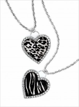 Sequin Animal-print heart necklace