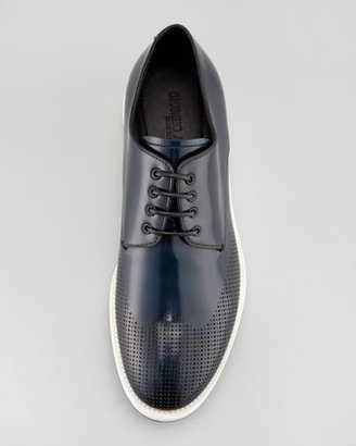 Giorgio Armani Runway Perforated Wing-Tip Leather Sneaker, Blue