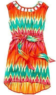 My Michelle Print Lattice-Neck Dress - Girls 6-16