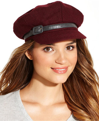Nine West Wool Blend Newsboy with Buckle Band Hat