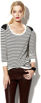 Vince Faux Leather Striped Pullover