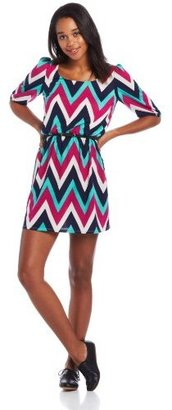 My Michelle Juniors Chevron Chiffon Dress