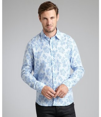 Vilebrequin blue tropical stripe linen 'Caracal' button front shirt