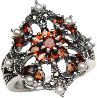Dahlia Garnet Fire Burst Silver Seed Pearl Ring (Size 8 Vintage Collection