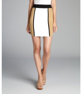 Torn By Ronny Kobo white and camel stretch 'Lolo' mini skirt