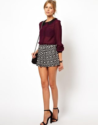 Asos Top with Contrast Lasercut and Ruffle Collar