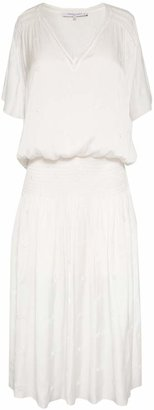 Gerard Darel Midi Dress With Smocking And Embroidery